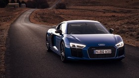 audi, r8, v10, road, movement - wallpapers, picture