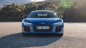audi, r8, v10, blue, front view - wallpapers, picture
