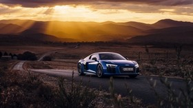 audi, r8, v10, side view, road - wallpapers, picture