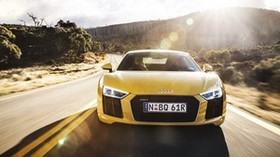 audi, r8, v10, yellow, front view - wallpapers, picture