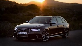 audi, rs4, side view, black, sunset - wallpapers, picture