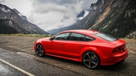 audi, rs7, red, side view, mountains - wallpapers, picture