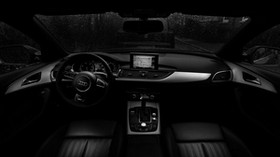 audi, steering wheel, car interior, rain, bw - wallpapers, picture
