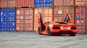 aventador, orange, lamborghini, doors, lamborghini, guillotine, rear view, containers - wallpapers, picture