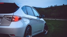auto, white, headlight, wheel, side view - wallpapers, picture