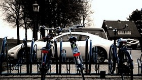 auto, white, bike, parking - wallpapers, picture