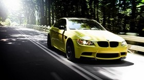 auto, bmw m3, yellow, road, forest, summer - wallpapers, picture