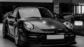 auto, black, headlights, bw - wallpapers, picture