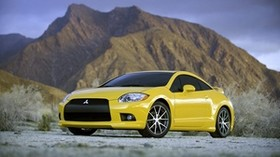 auto, Mitsubishi, yellow, front view - wallpapers, picture