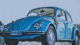 auto, retro, side view, blue - wallpapers, picture