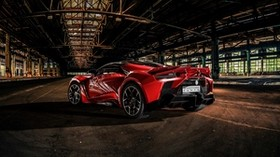 auto, sports car, red, aggressive, dark - wallpapers, picture