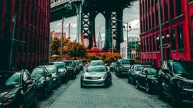auto, parking, buildings, bridge - wallpapers, picture