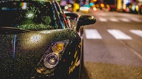 auto, front view, rain, drops - wallpapers, picture