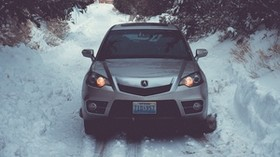 auto, winter, front view, snow, trees - wallpapers, picture