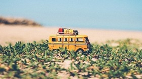 bus, toy, grass - wallpapers, picture