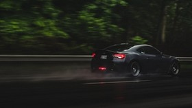 car, road, speed, rain - wallpapers, picture