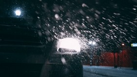 car, headlights, rear view, snow, night - wallpapers, picture