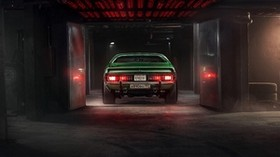 car, garage, tuning, green, rear view - wallpapers, picture