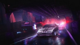 car, night, art, street, cities - wallpapers, picture