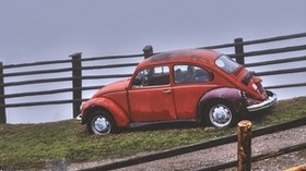 car, retro, red, hillock, fencing - wallpapers, picture