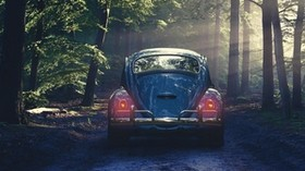 car, retro, forest, fog - wallpapers, picture
