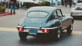 car, retro, rear view, movement - wallpapers, picture