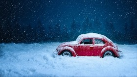 car, retro, winter, snow, snowfall, vintage, red, old - wallpapers, picture