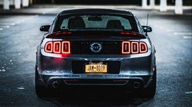 ford mustang gt, ford mustang, rear view, headlights - wallpapers, picture