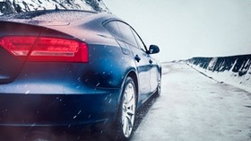 car, snow, headlight, movement - wallpapers, picture