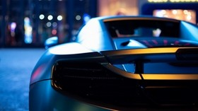car, sports car, headlight, wing, rear view, close-up - wallpapers, picture