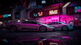 car, sports car, neon, backlight, street - wallpapers, picture