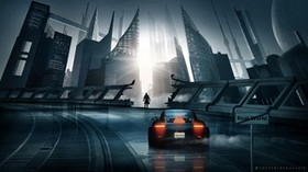 car, sports car, silhouette, city, cyberpunk, futurism - wallpapers, picture