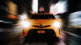 car, taxi, lights, light, speed, movement - wallpapers, picture