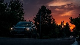 car, sunset, movement, road, night - wallpapers, picture