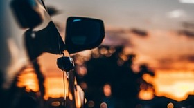 car, sunset, motion, mirror blur - wallpapers, picture