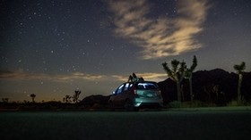 car, starry sky, man, loneliness, palm trees, solitude - wallpapers, picture
