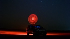 car, starry sky, night, light, circle - wallpapers, picture