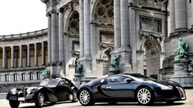 cars, bugatti, veyron, luxury, black, parked, construction - wallpapers, picture