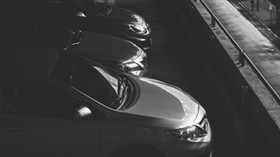 cars, bw, dark, parking, monochrome - wallpapers, picture