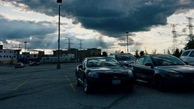 cars, the city, evening, clouds - wallpapers, picture