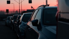 cars, sunset, traffic, sky - wallpapers, picture