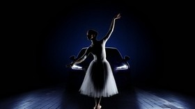 ballerina, car, girl, lights, jaguar - wallpapers, picture