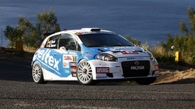 white, blue, sport, abarth, grande punto, 2007, auto, side view, nature, water - wallpapers, picture