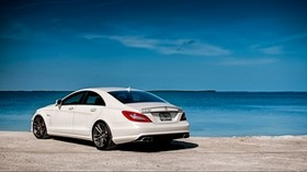 white, mercedes-benz, rear view, mercedes, cls63, amg - wallpapers, picture