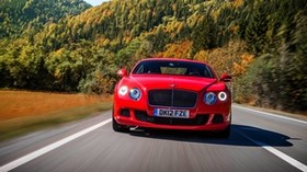 bentley, continental, gt, red, front view, motion, speed, road - wallpapers, picture