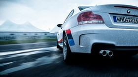 bmw 1-series m coupe, bmw, machine, white, wet, rear view, speed - wallpapers, picture