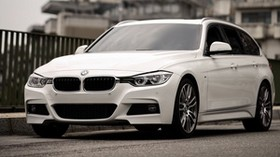 bmw 320i, bmw, car, white, the city - wallpapers, picture