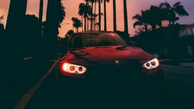 bmw 3, bmw, sunset, front view, palm trees - wallpapers, picture