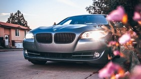 bmw 535, bmw, car, gray, front view - wallpapers, picture