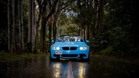 bmw 5, bmw, front view, car, blue, forest, road, rain - wallpapers, picture